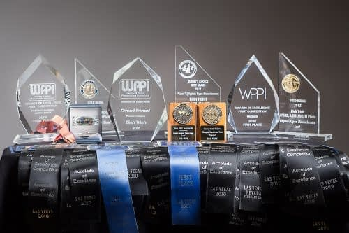 Award winning wedding photographer Binh Trinh with his trophies and medals