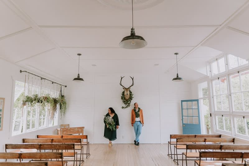 A contemporary Tauranga wedding photo at the Old Forest School wedding venue