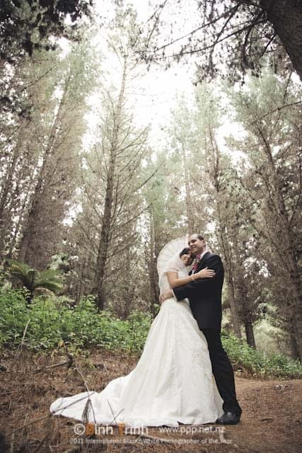 Taupo wedding photo by Lin Zhao in forest