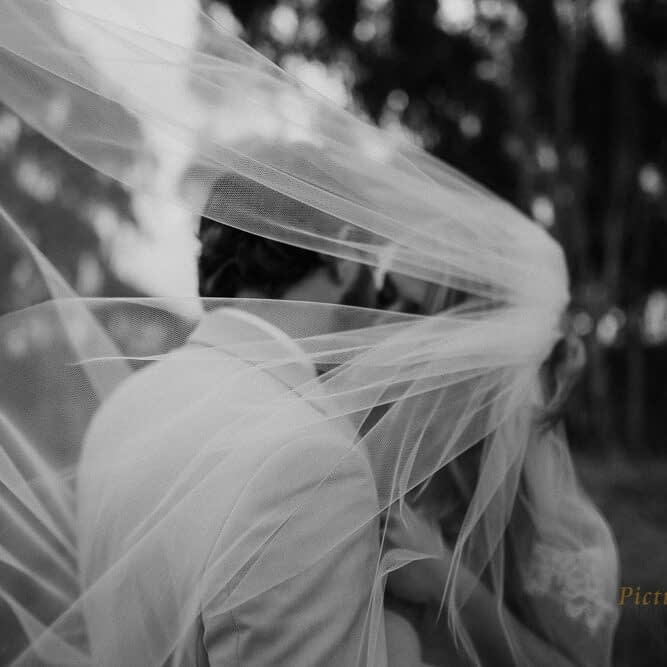 Bride and groom kissing for their winter wedding photography near Wharerata