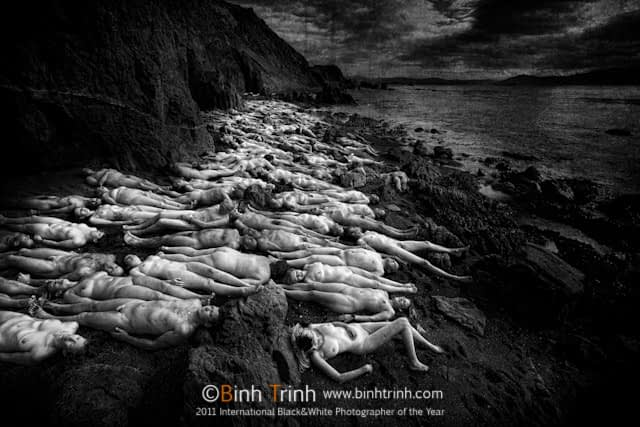 An award winning black and white mass nudes photo in wellington