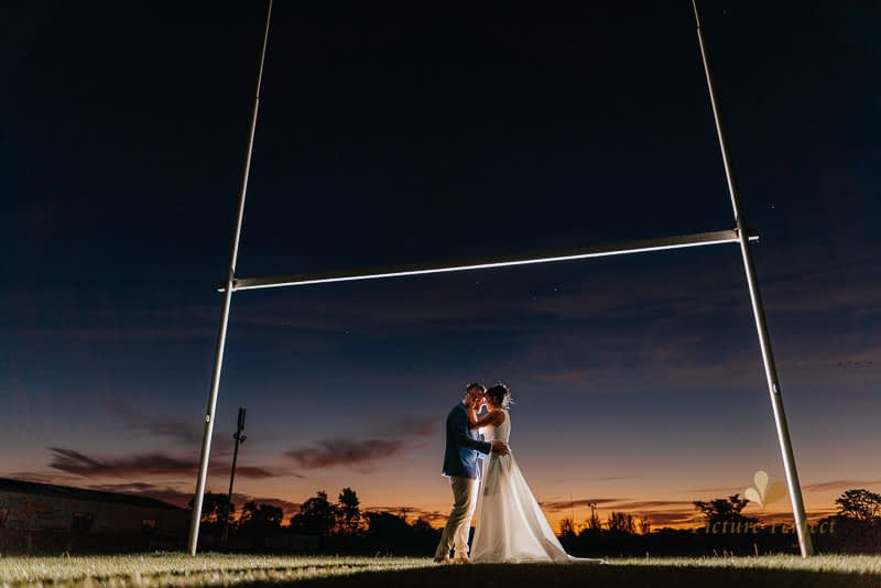 golden hour wedding photography at whanganui rugby ground