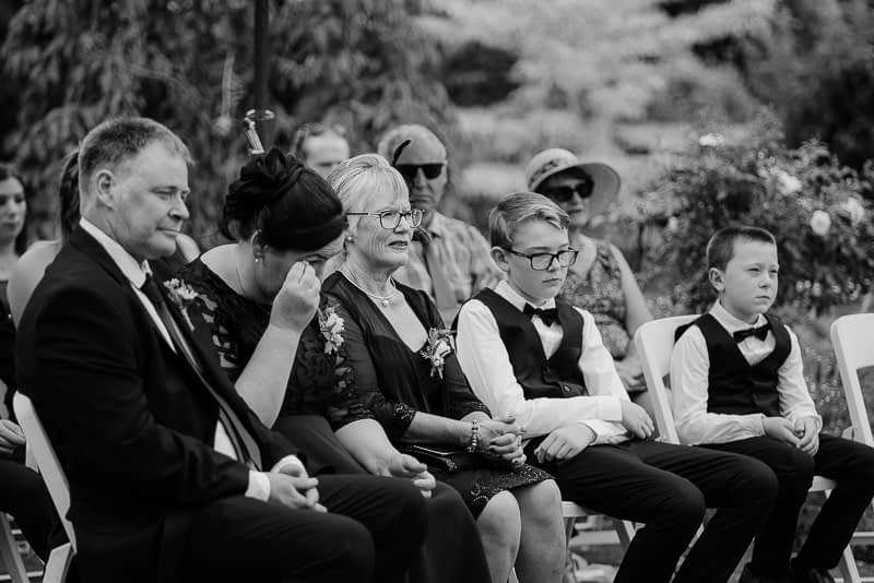 bride mother shedding a tear during a palmerston north wedding ceremony